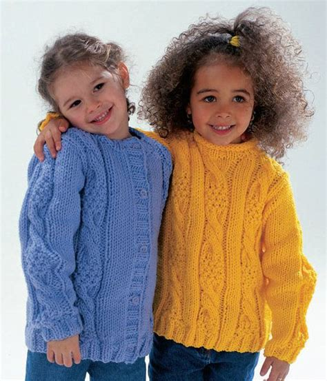 free childrens jumper knitting patterns cabled sweater and cardigan in wendy serenity chunky http