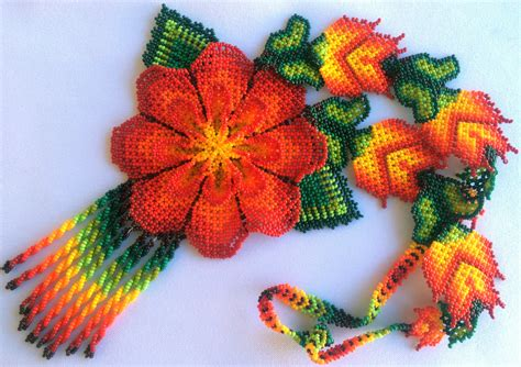 mexican beaded mexican huichol beaded flower necklace