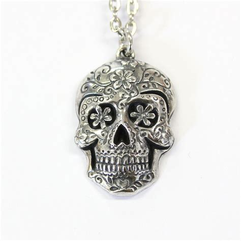 skull for jewelry sugar skull pendant large sugar skull necklace silver sugar