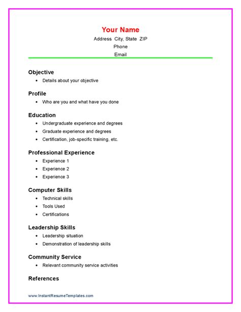 doc 756977 free resume templates for students with no