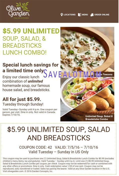 olive garden 5 99 for unlimited soup salad and breadsticks save a lot kdhnews