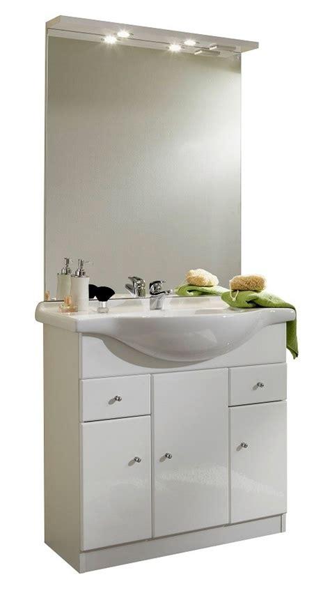 meuble de salle de bain contemporain avec vasque et miroir blanc novo ensemble de salle de