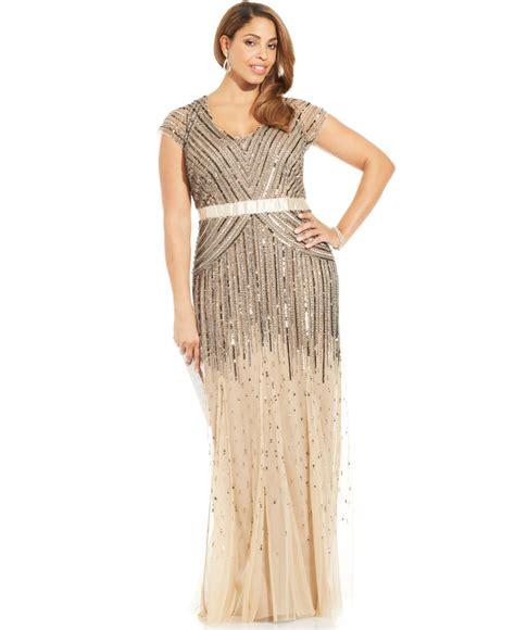 plus size beaded dress papell plus size cap sleeve beaded sequined gown