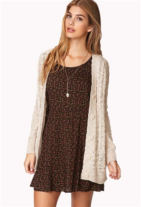 knit cardigan forever 21 forever 21 soft cable knit cardigan in lyst