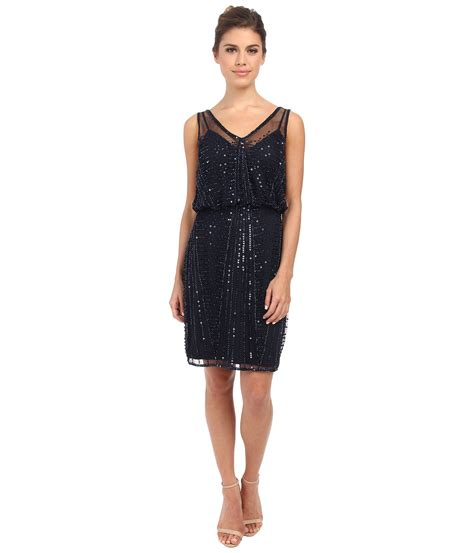 navy beaded dress papell beaded cocktail dress in blue lyst