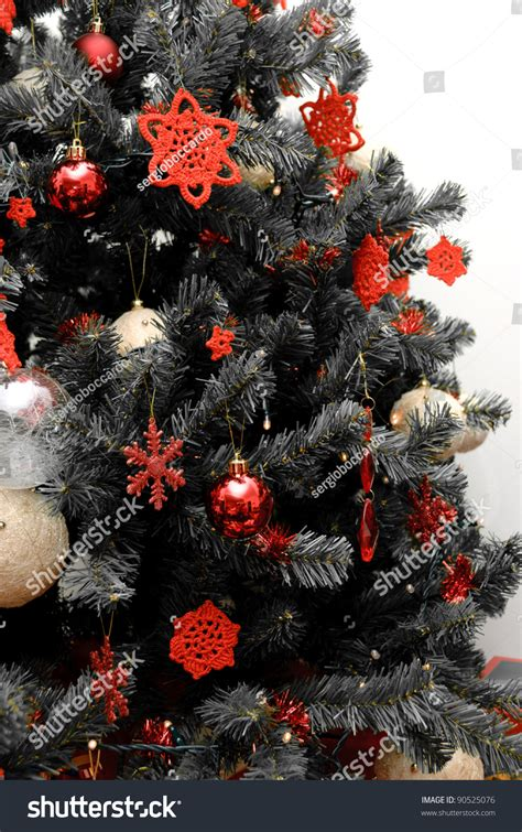 white tree with black decorations tree black white decorations stock photo