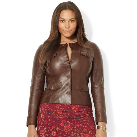 plus size leather jackets for by ralph plus size buttonfront leather