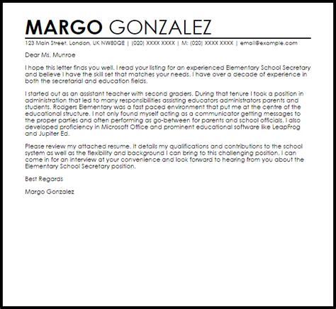 elementary secretary cover letter sample livecareer