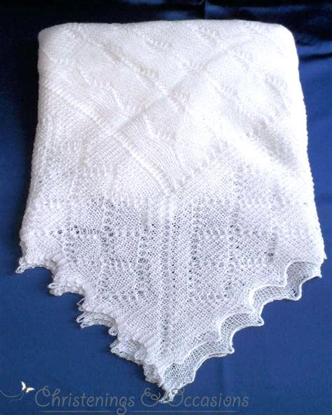 christening shawl knitting pattern baby s white cobweb christening shawl in delicate lacy