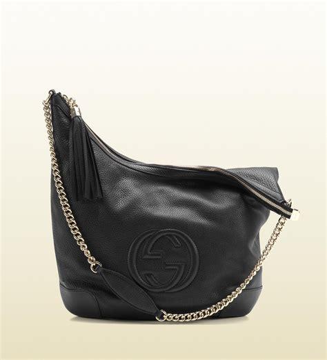 black leather the shoulder bag gucci soho black leather shoulder bag with chain in black lyst
