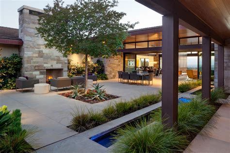 courtyard ideas contemporary courtyard with outdoor fireplace hgtv
