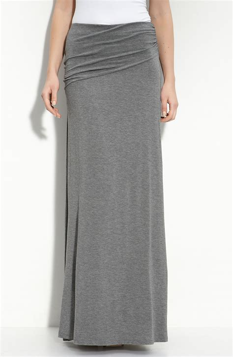 knit maxi skirts bobeau asymmetric knit maxi skirt in gray charcoal lyst