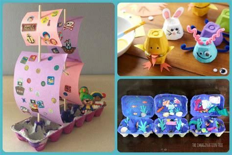craft projects with egg cartons manualidades con cajas de huevos tres en uno