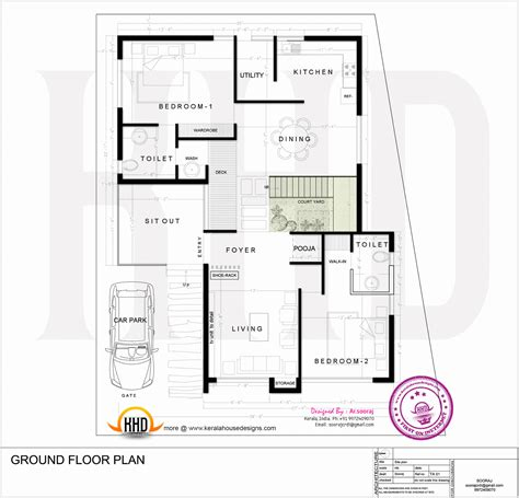 ground floor plan contemporary residence design kerala home design and floor plans