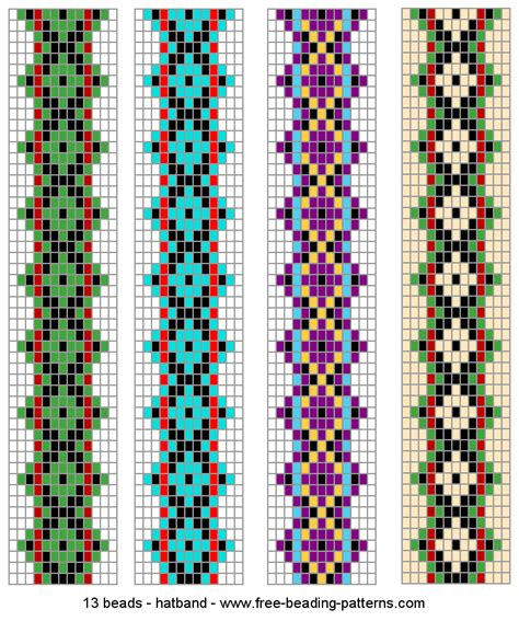 loom beading hatband patterns green predominates beading