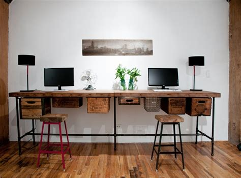 wooden desks for home office reclaimed wood desk with steel pipe legs and 2 drawers