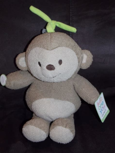 carter s just one you plush brown monkey green tie musical