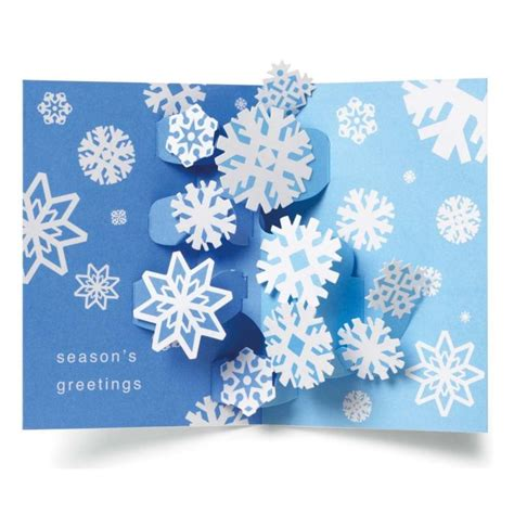 up greeting cards swirling snowflakes pop up boxed