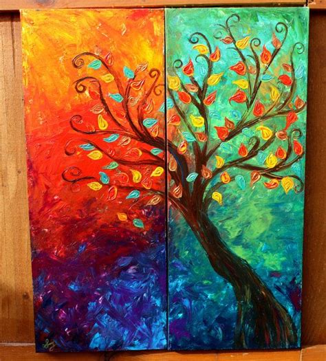 acrylic painting ideas trees colorful fall tree abstract acrylic painting 2 by