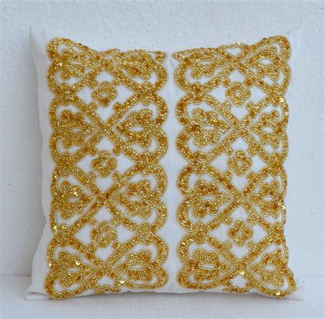 gold beaded pillow white geometric throw pillows beaded detail gold bead