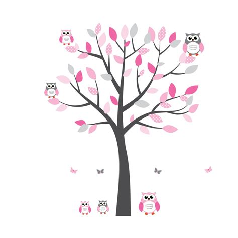 Bird Tree Wall Sticker pink and grey owl decal with tree decals for nursery for girls