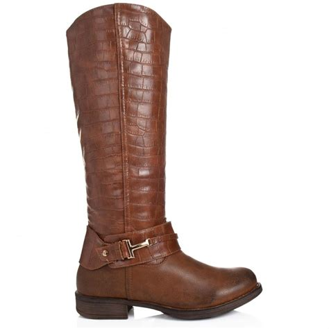 leather knee high boots for buy graphyk flat knee high boots brown leather style