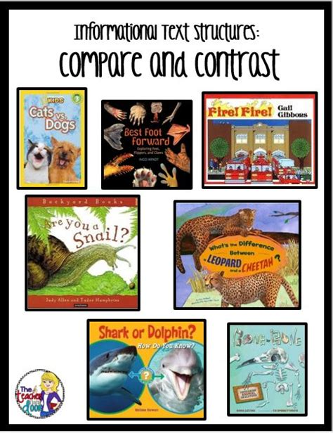 picture books to teach compare and contrast text structures mentor texts and informational texts on