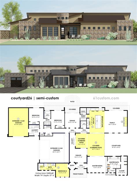 floor plans with courtyard contemporary side courtyard house plan 61custom contemporary modern house plans