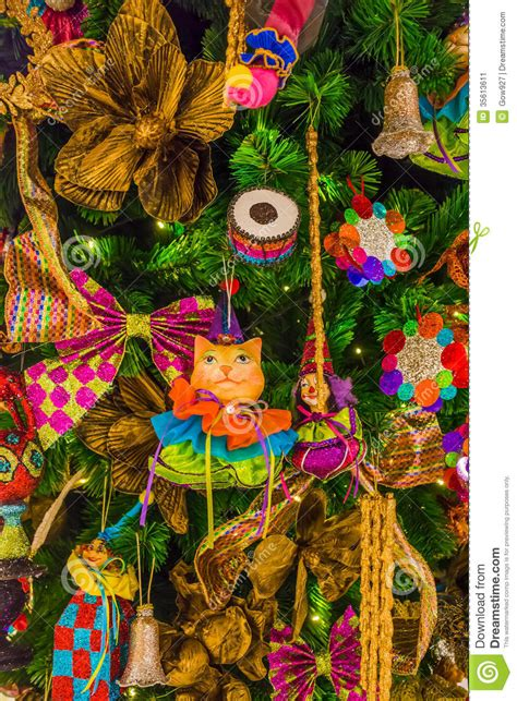 colorful tree decorations colorful tree ornaments and decorations stock