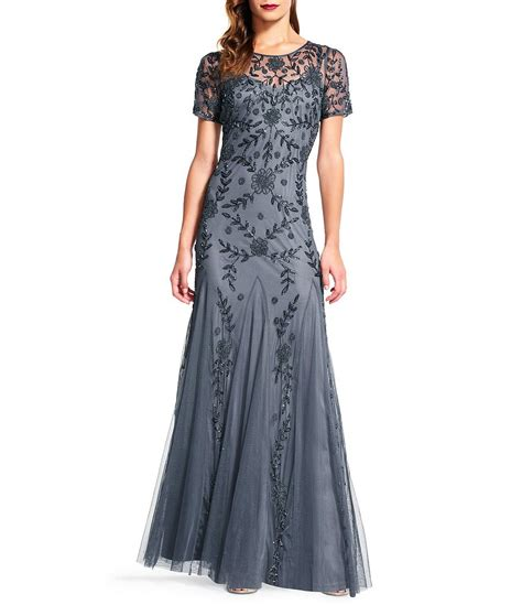 beaded gown papell floral beaded gown dillards