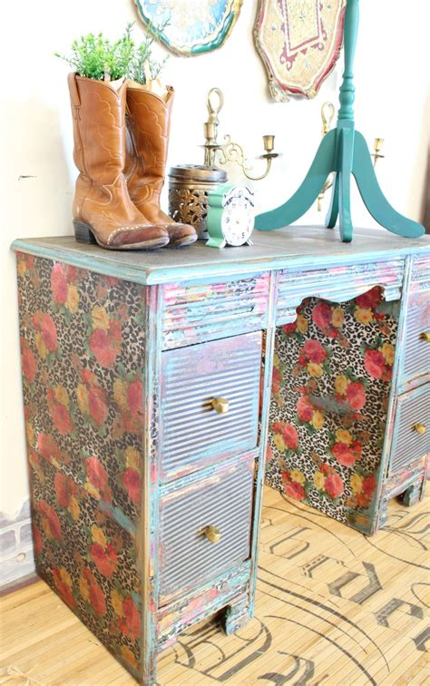 how to decoupage furniture with paper how to decoupage a desk refunk my junk