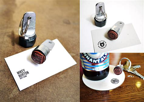 business rubber sts designs use a keychain st to turn anything into a business card
