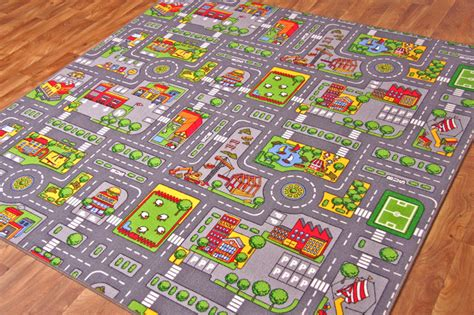 play rug with roads city s roads play mat with cars boys colourful