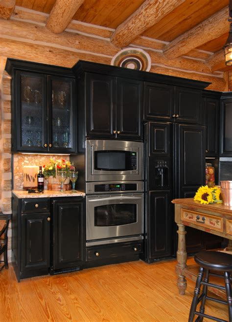 Ideas For Bathroom Vanities And Cabinets rustic log cabin kitchen