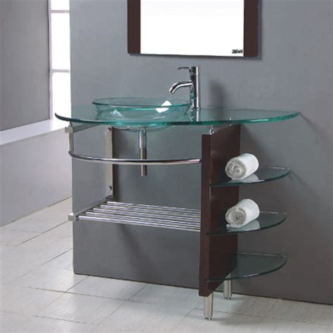 bathroom vanity with glass top shop kokols usa clear single vessel sink bathroom vanity