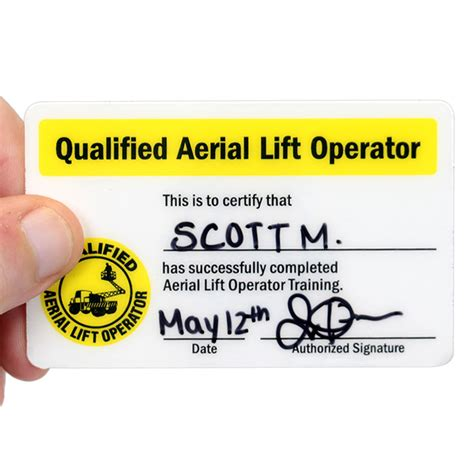 card courses qualified aerial lift operator hat decals with