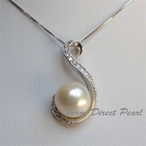 pearl pendants for jewelry genuine 11mm white pearl cz pendant necklace 18 quot 115