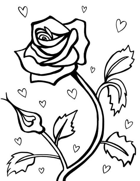 rose and heart coloring pages rose and heart valentines