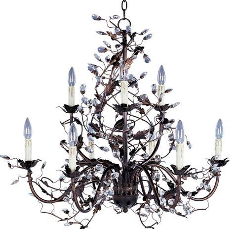 vine chandelier rubbed bronze leaf and vine chandelier