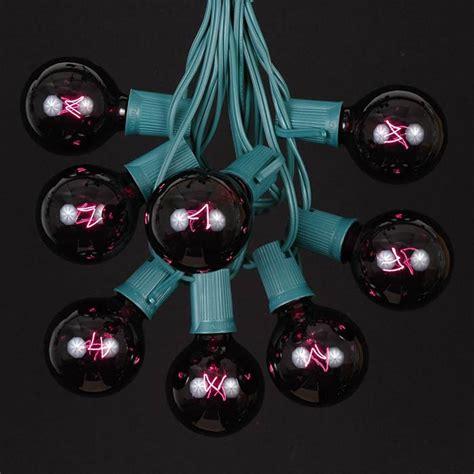 black light string 100 black light g50 globe string light set on green wire