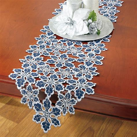 blue silver blue silver snowflake table runner current catalog