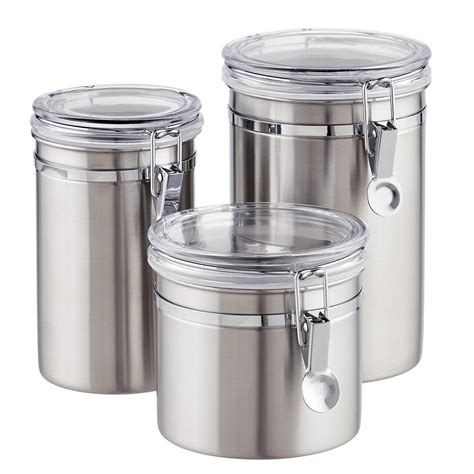 stainless steel canister sets kitchen stainless steel canisters brushed stainless steel