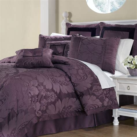 plum bedding sets lorenzo damask 8 pc comforter bed set