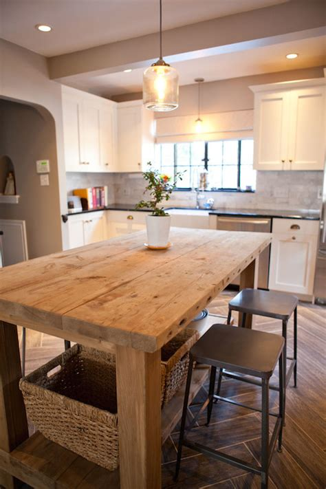 small kitchen island table salvaged wood island transitional kitchen tess