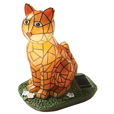 solar mosaic garden lights mosaic cat solar garden light ebay