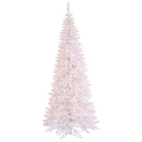 slim white tree 6 5 foot white slim fir tree clear lights