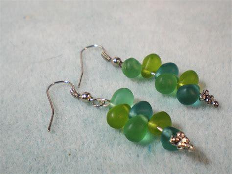 how to make glass bead earrings frosted teardrop bead earrings beginner jewelry tutorial