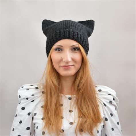 cat ear hat knitting pattern black cat hat knit cat ear hat or cat beanie womens cat hat
