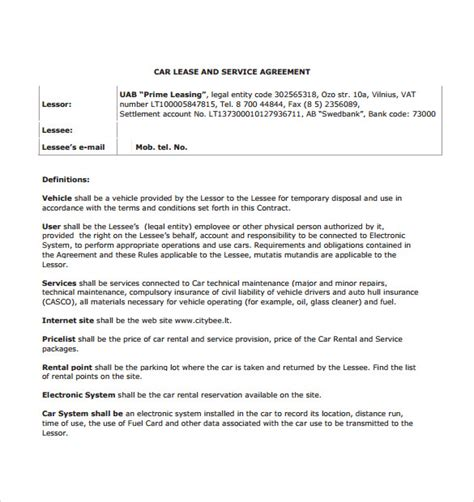 sample car lease agreement 4 documents in pdf word