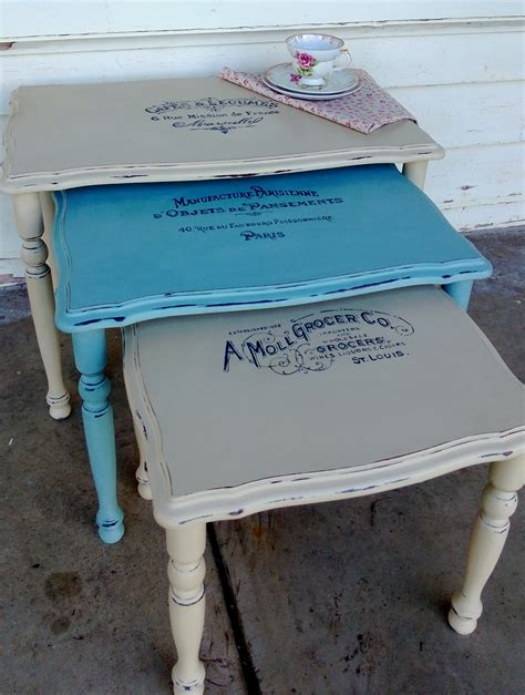 chalk paint nest of tables vintage typography nest of tables rustic boutique